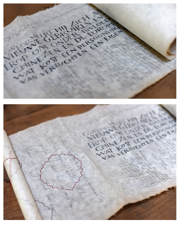 Rol (Nepalees papier) met als inspiratiebron het boek: Ik heet Karmozijn, Orhan Pamuk