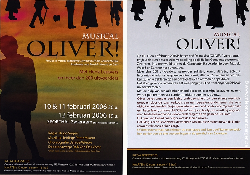flyer en affiches musical Oliver